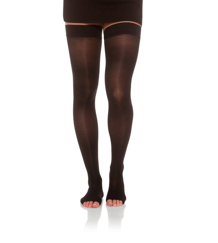 Compression Thigh High Stockings, 15-20mmHg Sheer Open Toe 152