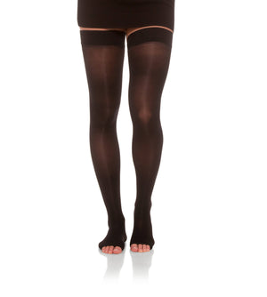 Black Sheer Compression Thigh High Stockings with Sheer Toe, 20-30mmHg