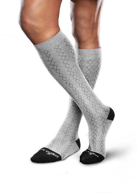 Therafirm Core-Spun Patterned Compression Knee High Socks - Classic Diamond 20-30 mmHg