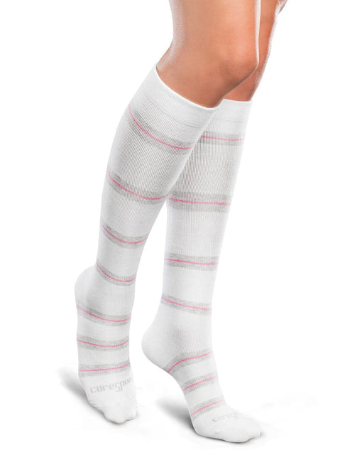 Therafirm Core-Spun Patterned Compression Knee High Socks - Thin Line 15-20 mmHg