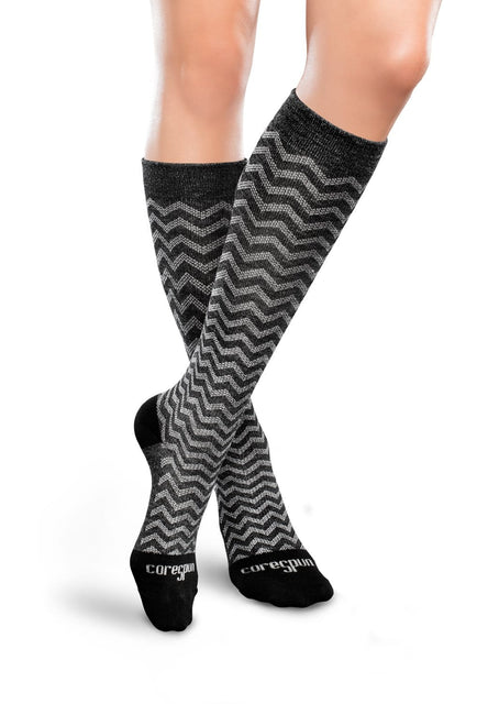 Therafirm Core-Spun Patterned Compression Knee High Socks - Trendsetter 15-20 mmHg