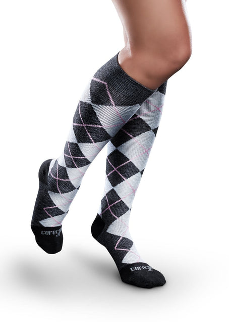 Therafirm Core-Spun Patterned Compression Knee High Socks - Argyle 20-30 mmHg