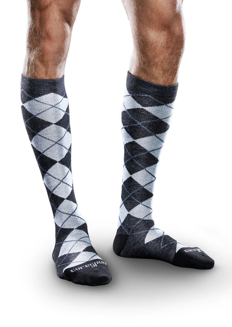 Therafirm Core-Spun Patterned Compression Knee High Socks - Slate Argyle 10-15 mmHg
