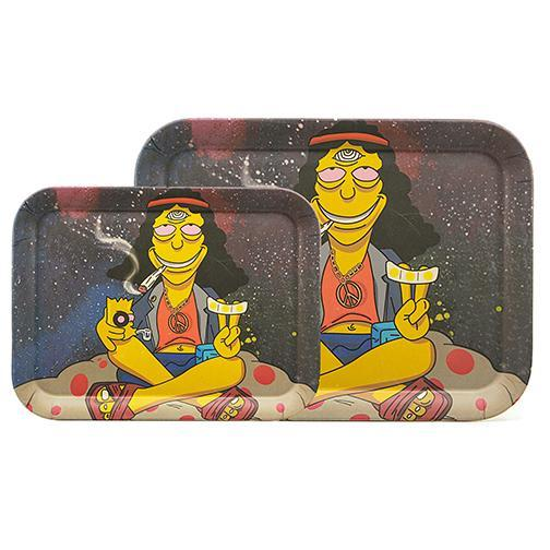 Biodegradable Bamboo Fiber Rolling Tray - Three Eyed Hippie (Two Sizes)