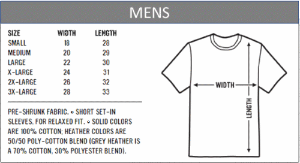 Men's t-shirt sizing