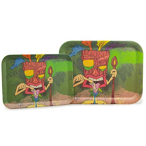 Biodegradable Bamboo Fiber Rolling Tray - Tiki (Two Sizes)