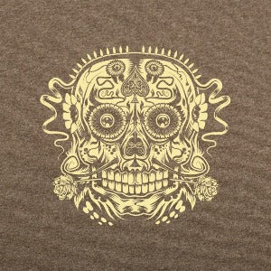 Ace of the Dead Skull t-shirt brown heatherlogo