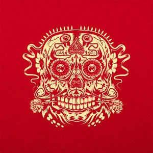 Ace of the Dead Skull women's t-shirt red logo
