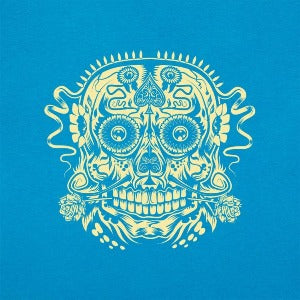 Ace of the Dead Skull women's t-shirt sky blue logo