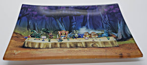 "Shatterproof Glass Rolling Tray ""Alice Tea Party"" Media 1 of 3"