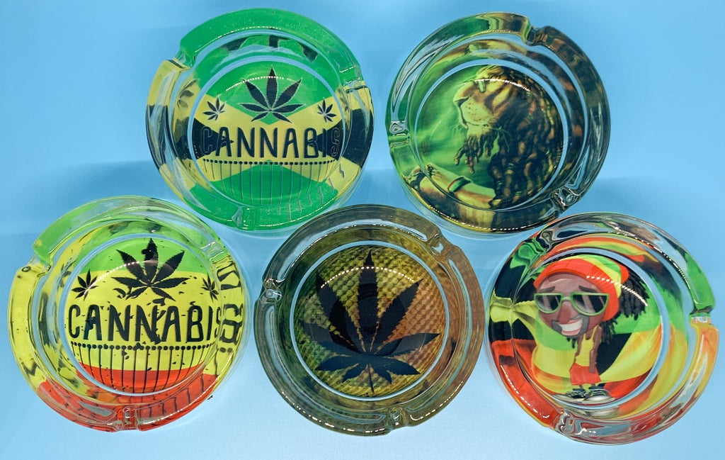 Glass Rasta Ashtray all 5 ashtrays designs