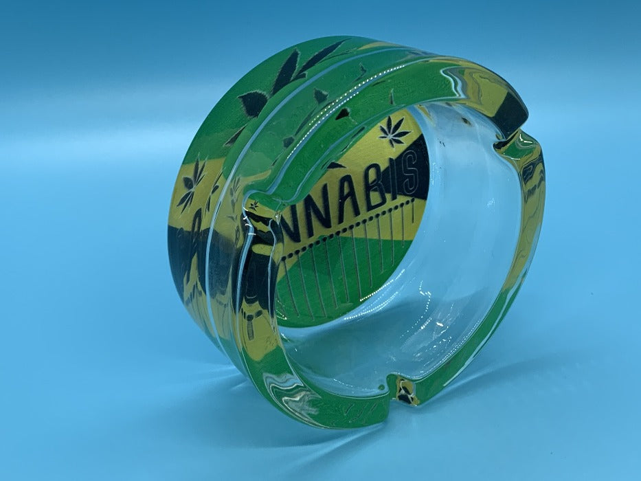 Glass Rasta Ashtray Cannabis Green design
