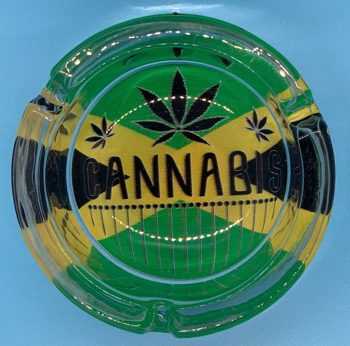 Glass Rasta Ashtray Cannabis Green design design