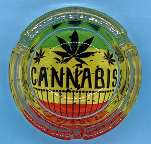 Glass Rasta Ashtray Cannabis Red design