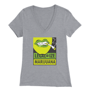"Women's Bella V-Neck ""Legalize Marijuana"" T-Shirt"