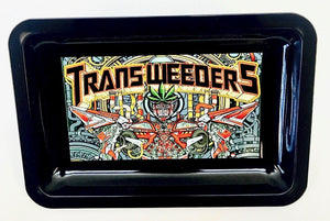 "Metal Rolling Tray ""Transweeder"" an artistic rendition of Transformers"