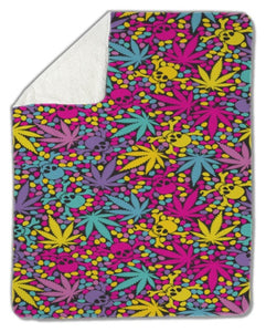 Blanket, Colorful Cannabis Leaves with Skulls