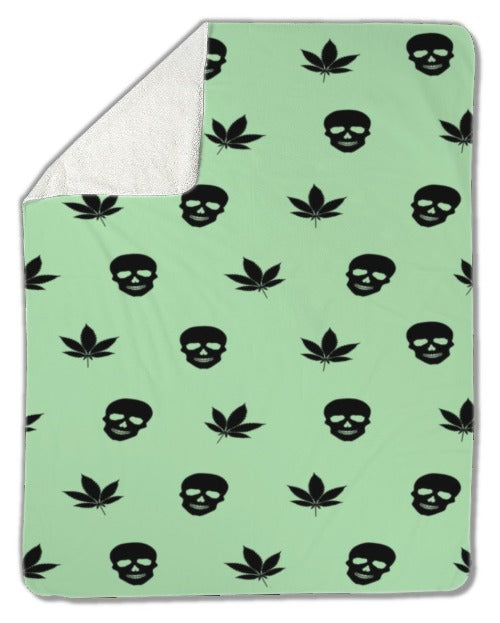Blanket, Black Cannabis Leaves and Skulls