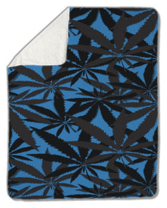 Blanket, Blue Cannabis Leaves