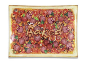 Shatterproof Glass Rolling Tray Pizza Baked