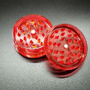 Acrylic 2 piece magnetic grinder red open