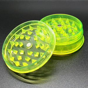 Acrylic 2 piece magnetic grinder yellow open