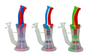 Silicone Water Pipe w/ Percolator and Water Chamber 8.5""