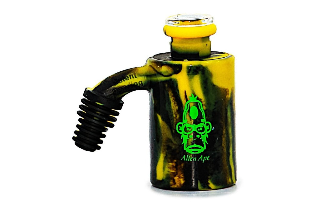 Alien Ape - Silicone Ash Catcher/Reclaimer/Storage Jar black and yellow