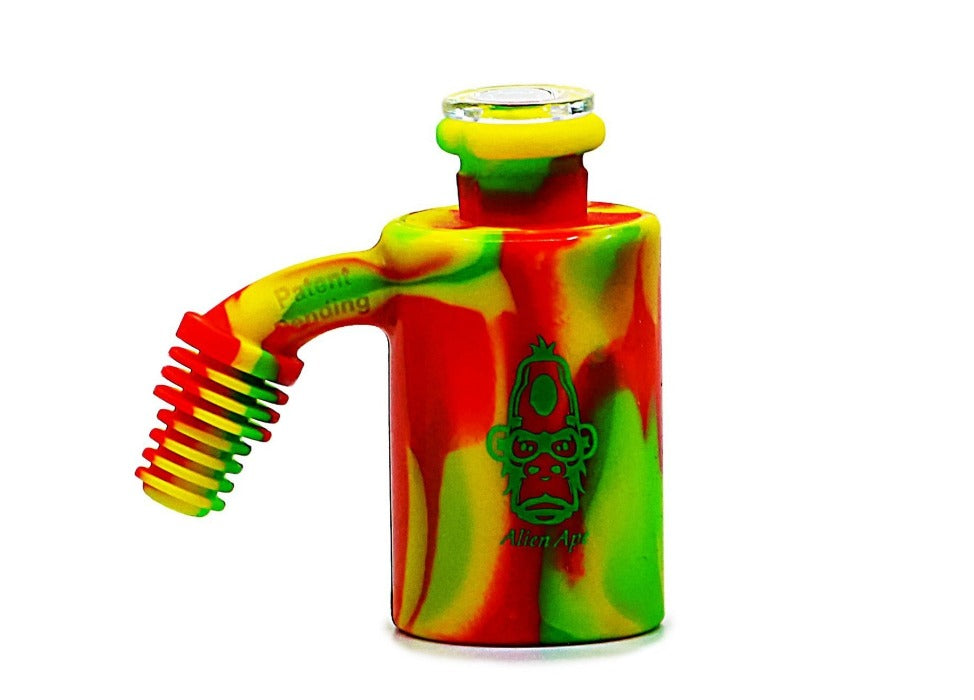 Alien Ape - Silicone Ash Catcher/Reclaimer/Storage Jar Rasta color