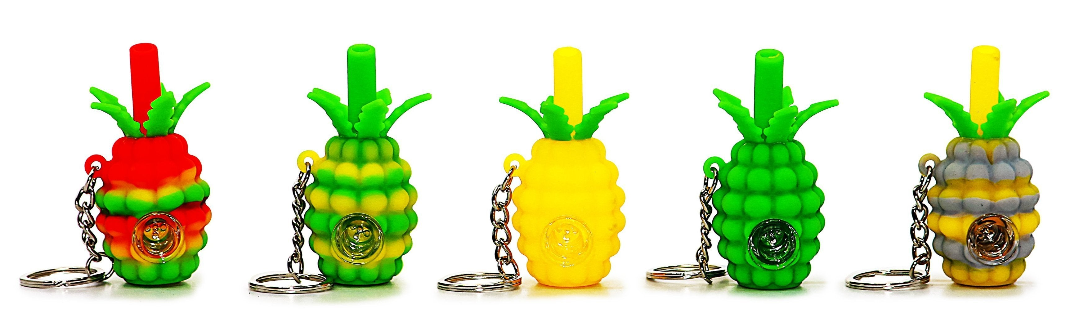 Silicone Pineapple Keychain Pipes