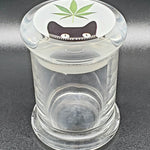 Glass Stash Jar with Various Collectible Designs