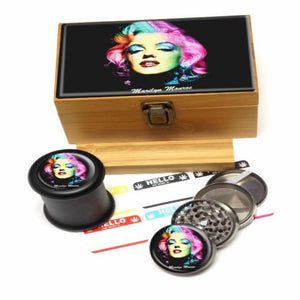 Marilyn Monroe collectible stash box featuring box, stash jar, grinder, and labels