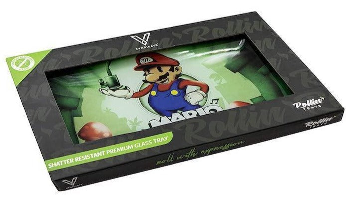 Mario Smoke Sesh Shatterproof Glass Tray in box