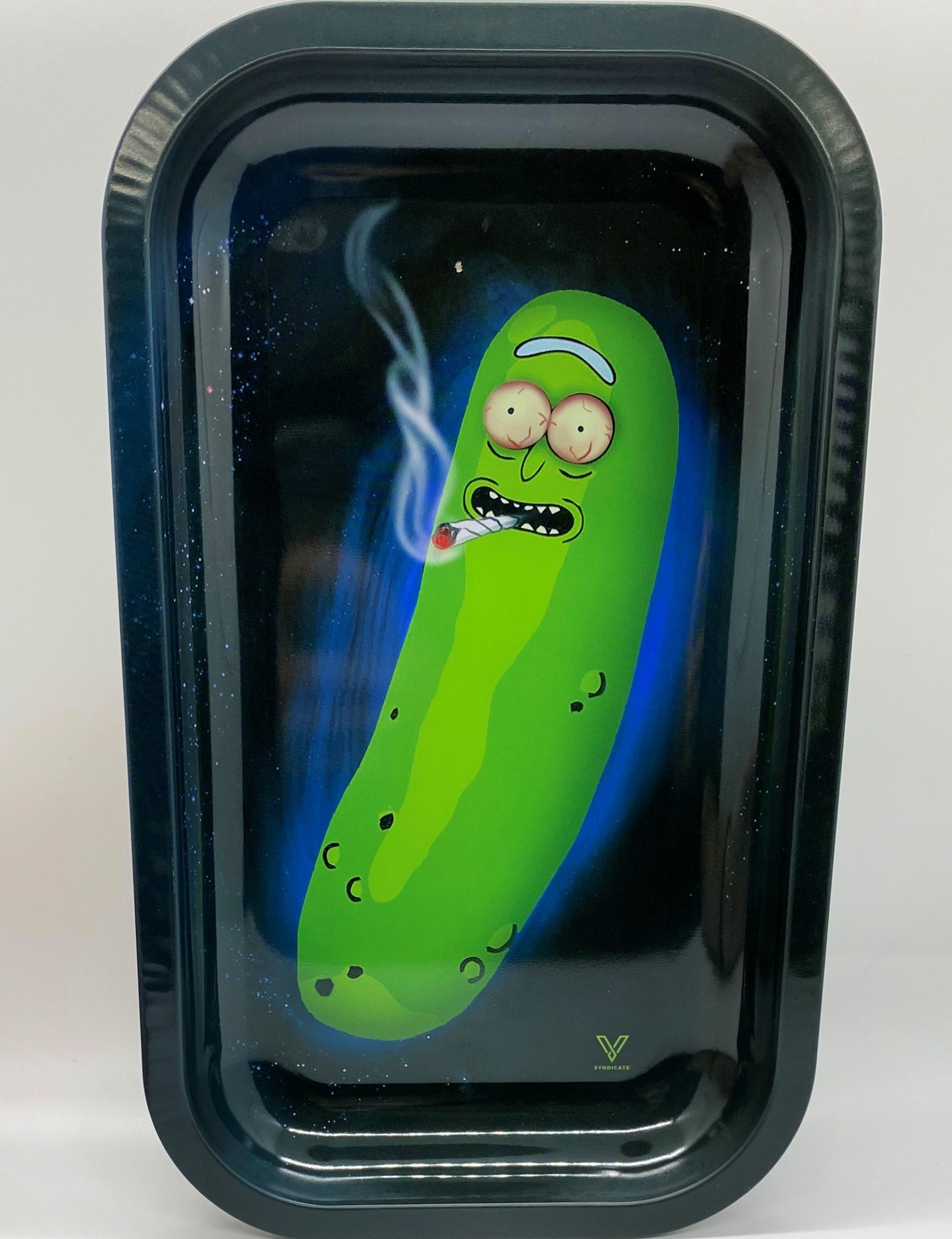 "Premium Metal Rolling Tray ""Pickle Rick"""