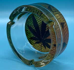Glass Rasta Ashtray Pot Leaf design