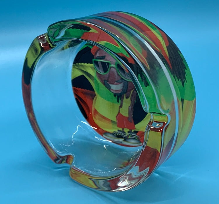Glass Rasta Ashtray Rasta man design
