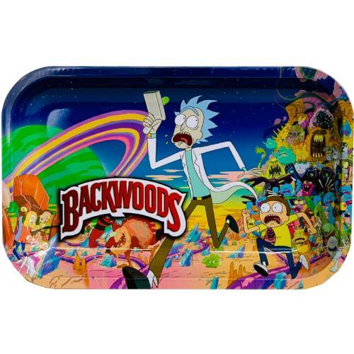 "Premium Metal Rolling Tray ""Backwoods Rick & Morty"""