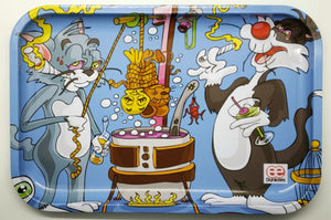 Tom and Jerry Sylvester and Tweety Rolling tray Got Em original art by Dunkees