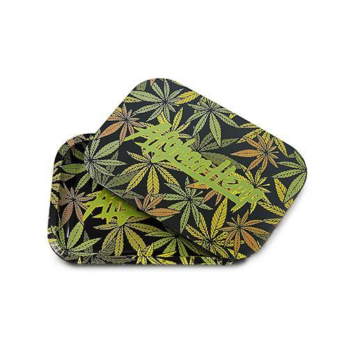 Afghan Hemp - Leaf Design Tray w/ Magnetic Lid Green