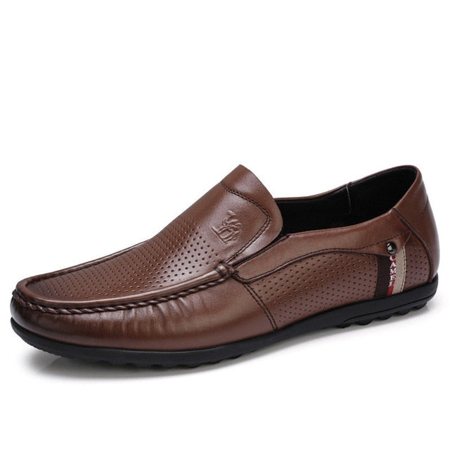 CAMEL Leather Loafers Breathable Punch Cowhide