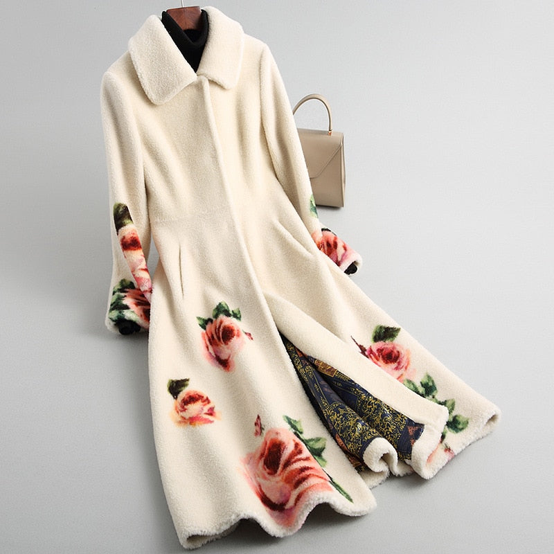 Fur Shearing Coat Women's Flower
