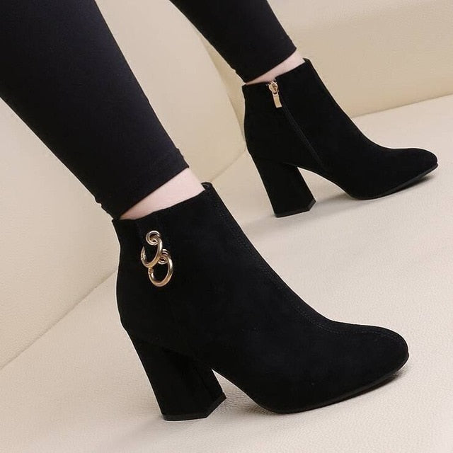 High Heels Zipper Suede Warm Snow Boots