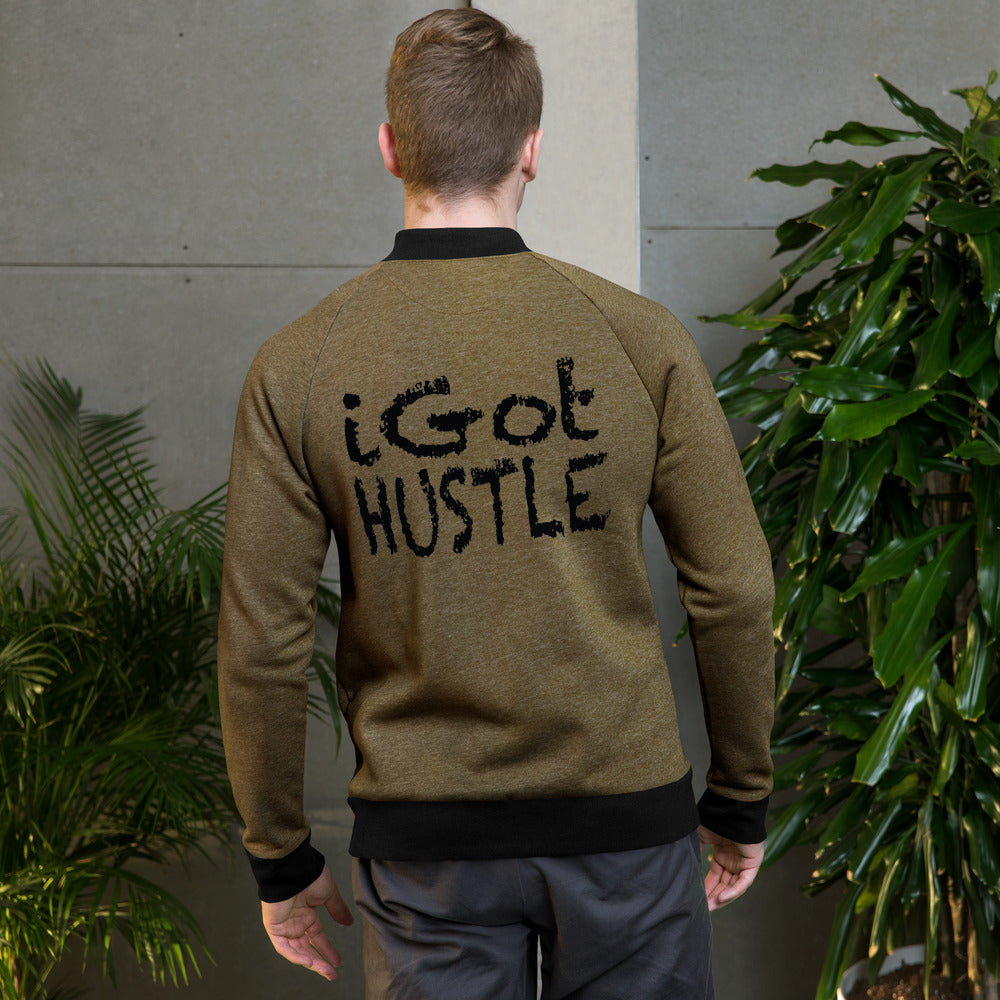 iGot Hustle Bomber Jacket Brown w/Black Lettering