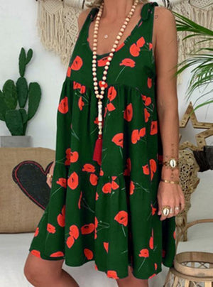 Round Neck Sleeveless Printed Color Loose Casual Dress