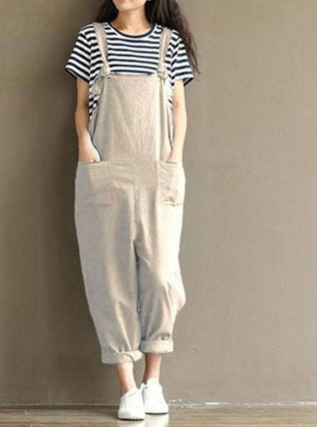 Cotton Linen double pocket causal Jumpsuit