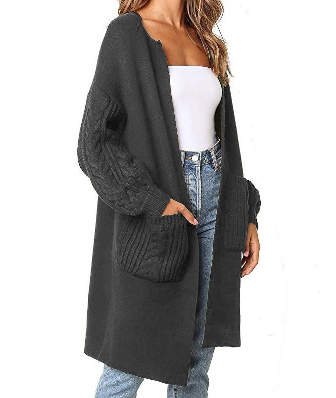 V-neck twist lantern sleeve knit cardigan coat sweater