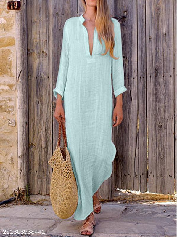 Women Maxi Dress Long Sleeve V-Neck Loose Plain Maxi Dress