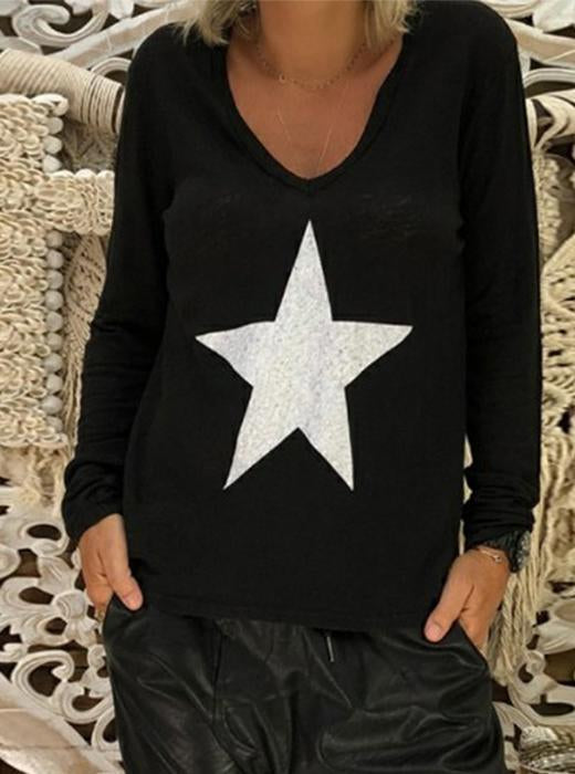 V Neck Star Printed  Casual Long Sleeve T-Shirts