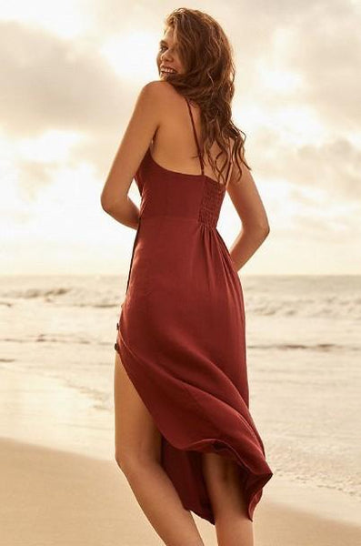 High waist sling beach maxi dress