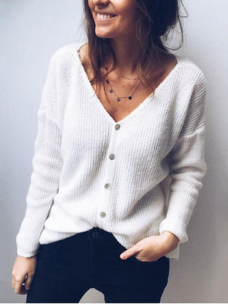 Sexy low cut single breasted cardigan